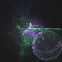 glowing green curved lines in shape of black hole over dark Abstract Background space universe. Illustration