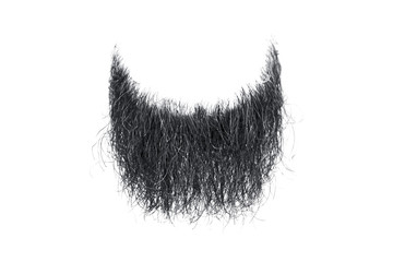Disheveled black beard isolated on white. Mens fashion