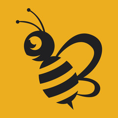 Wall Mural - Bee logo black colour with yellow background