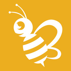 Wall Mural - Bee logo white colour with a yellow background