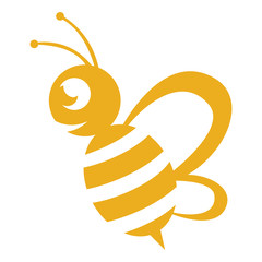 Wall Mural - Bee logo yellow colour with a white background