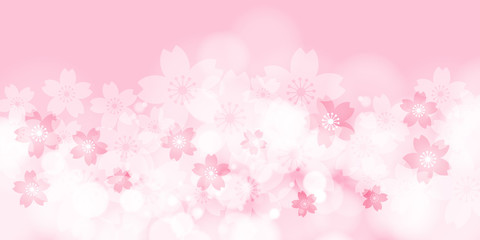 Cherry Blossom, Pink Background, Vector Graphics