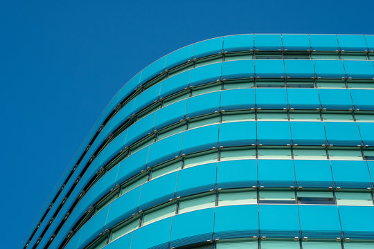 modern building with blue sky in london
