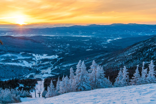 Sunrise from the top of Mt. Mansfield in the winter.