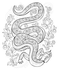 Stylized lizard in jungle. Black and white page for coloring book. Pattern for modern print, embroidery, Henna, Mehndi, tattoo and decoration. Hand-drawn vector image on computer by graphic tablet.