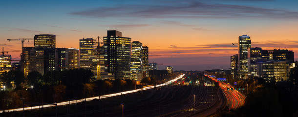 Papiers peints Amsterdam Sunset cityscape of Zuidas the business and commercial zone of Amsterdam.