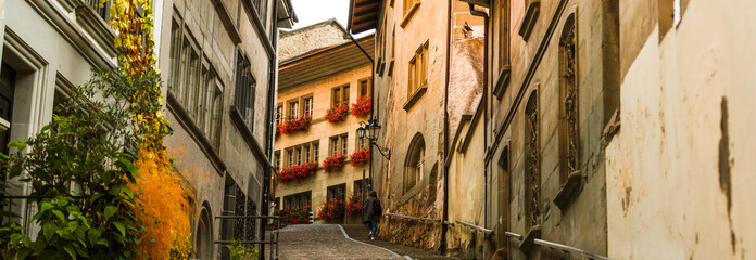 Switzerland, marvellous old street in the city
