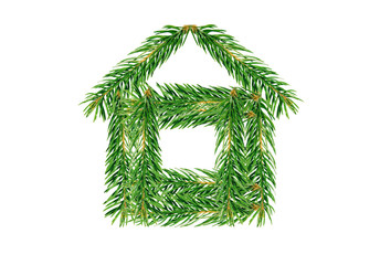 House of fir branches.