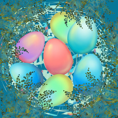 Easter decor with mimosa branches, eggs in a nest. Greeting cards for Easter, print, poster. Green tone..