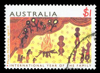 AUSTRALIA - CIRCA 1994: A stamp printed in Australia shows image of a Aboriginal art, circa 1994.