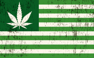Grunge Textured American Marijuana Flag Illustration