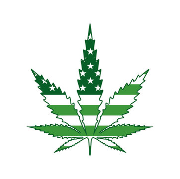 Marijuana Leaf Green American Flag Icon Illustration
