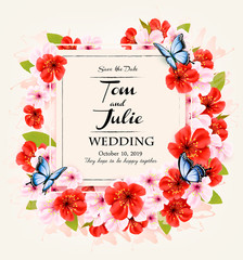 Beautiful wedding invitation desing with coloful flowers and butterflies. Vector