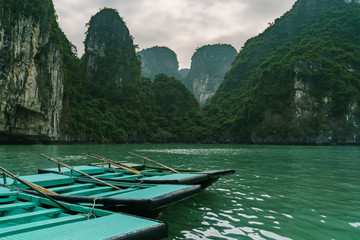 Wall Mural - Ha Long Bay Vietnam. Famous travel nature destination. Green mountains in water landscape at Halong