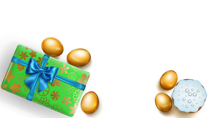 Realistic golden Easter eggs, tasty cake and beautiful gift box with bow on white background