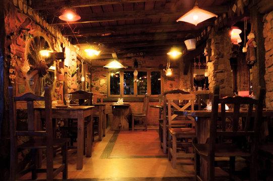 Interior of a beautiful and cozy irish pub