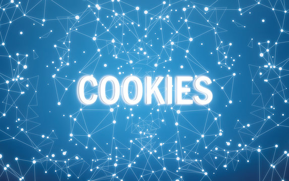 Cookies on digital interface and blue network background