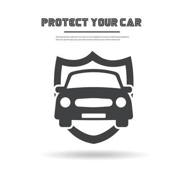 Car in shield icon vector. Logo