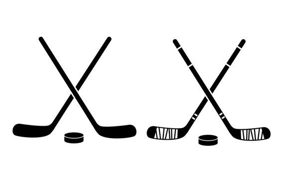 Hockey Stick Flat Icon On White Background