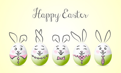 Wall Mural - Happy easter bunny vector card background