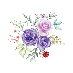 watercolor floral and leaves bouquet