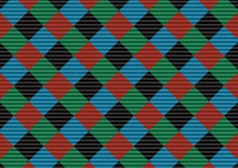 Keuken foto achterwand Psychedelic Red,black,green and blue firebrick gingham pattern.Vector illustration.EPS-10. - Vector