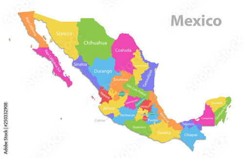Mexico Map New Political Detailed Map Separate Individual States