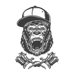 Vintage ferocious gorilla head