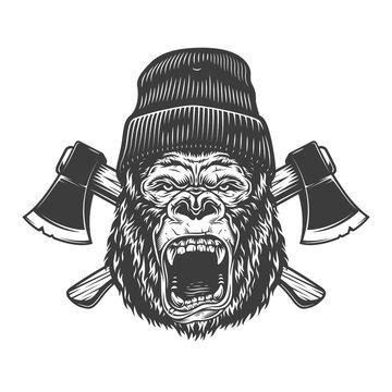 Angry gorilla head in lumberjack hat