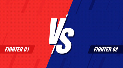 Versus screen. Vs battle headline, conflict duel between Red and Blue teams. Confrontation fight competition. Vector background template