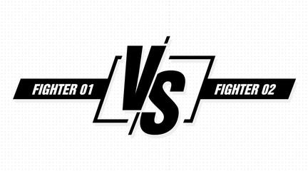 Versus screen. Vs battle headline, conflict duel between teams. Confrontation fight competition. Vector background template