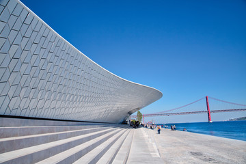 Lisbon, Portugal-October 17, 2017: Famous MAAT Museum in Lisbon near river Tagus and Landmark 25 of April bridge