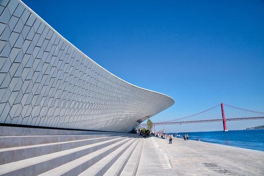 Lisbon, Portugal-October 17, 2017: Famous MAAT Museum in Lisbon near river Tagus and Landmark 25 of April bridge