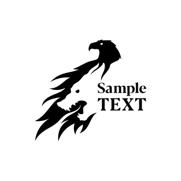 Eagle and wolf silhouette negative space icon