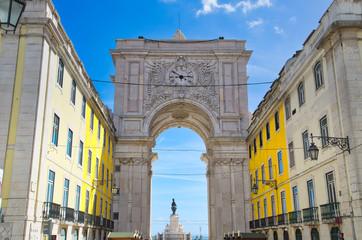Famous Commerce Plaza (Praca do Comercio) in Lisbon facing Tagus River