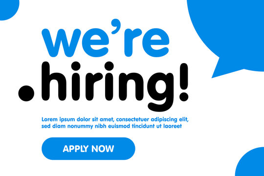 We are Hiring Vector Background. Trendy Bold Black Typography. Job Vacancy Card Design. Join Our Team Minimalist Poster Template, Looking for Talents Advertising, Open Recruitment Creative Ad