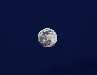 supermoon on background of blue sky, at dusk.high resolution photography