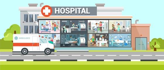 Hospital Inside View Flat Vector Illustration