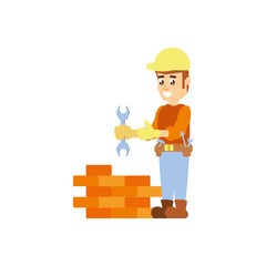 construction worker with wrench tool and wall brick