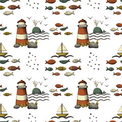 Hand drawn sea life and nautical seamless pattern background