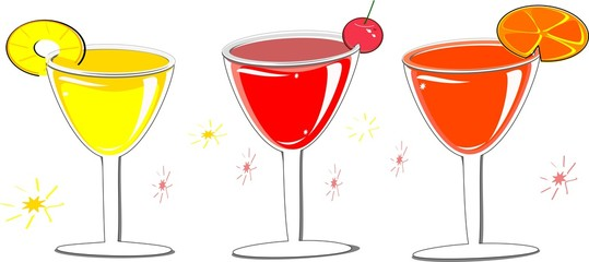 Wine glasses with rounded layouts, summer cocktails, fruit juices, watermelon, orange, pineapple, grapes, lime juice, splash, tropical fruit concept during Songkran Thai, vector illustration