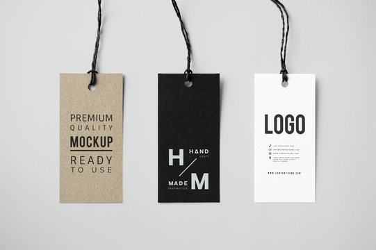 Three fashion label tag mockups
