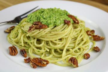 Spaghetti with Broccoli Pesto & Pecans