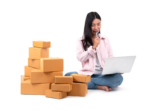 .woman working sell online