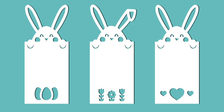 Easter cards with bunnies. A set of templates for paper cutting, laser cutting or plotter. Vector.