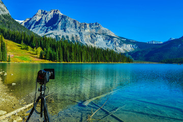 Wall Mural - DSLR Camera setting at tripod shot nature landscape in Emerald Lake,Yoho National Park in Canada