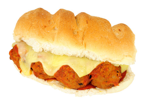 Meatball and melted cheese sandwich isolated on a white background