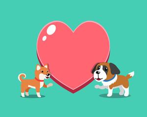 Cartoon character shiba inu dog and saint bernard dog with big heart for design.