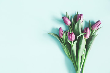 Flowers composition. Purple tulip flowers on pastel blue background. Spring, easter, mothers day, womens day concept. Flat lay, top view, copy space