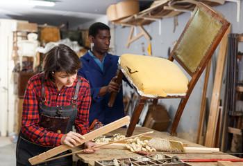 Restoration wooden chair in studio